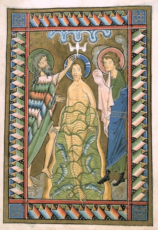 Bapteme du Christ, Psautier de Wurzburg, bibliotheque de Melk, Autriche, anno 1255
